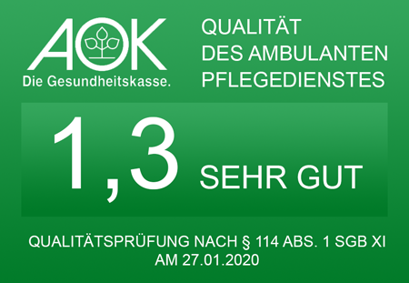 Transparenzbericht der AOK nach der Qualitätsprüfung vom 27.01.2020.
